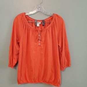 Ann Taylor Loft Orange Summer Top Medium